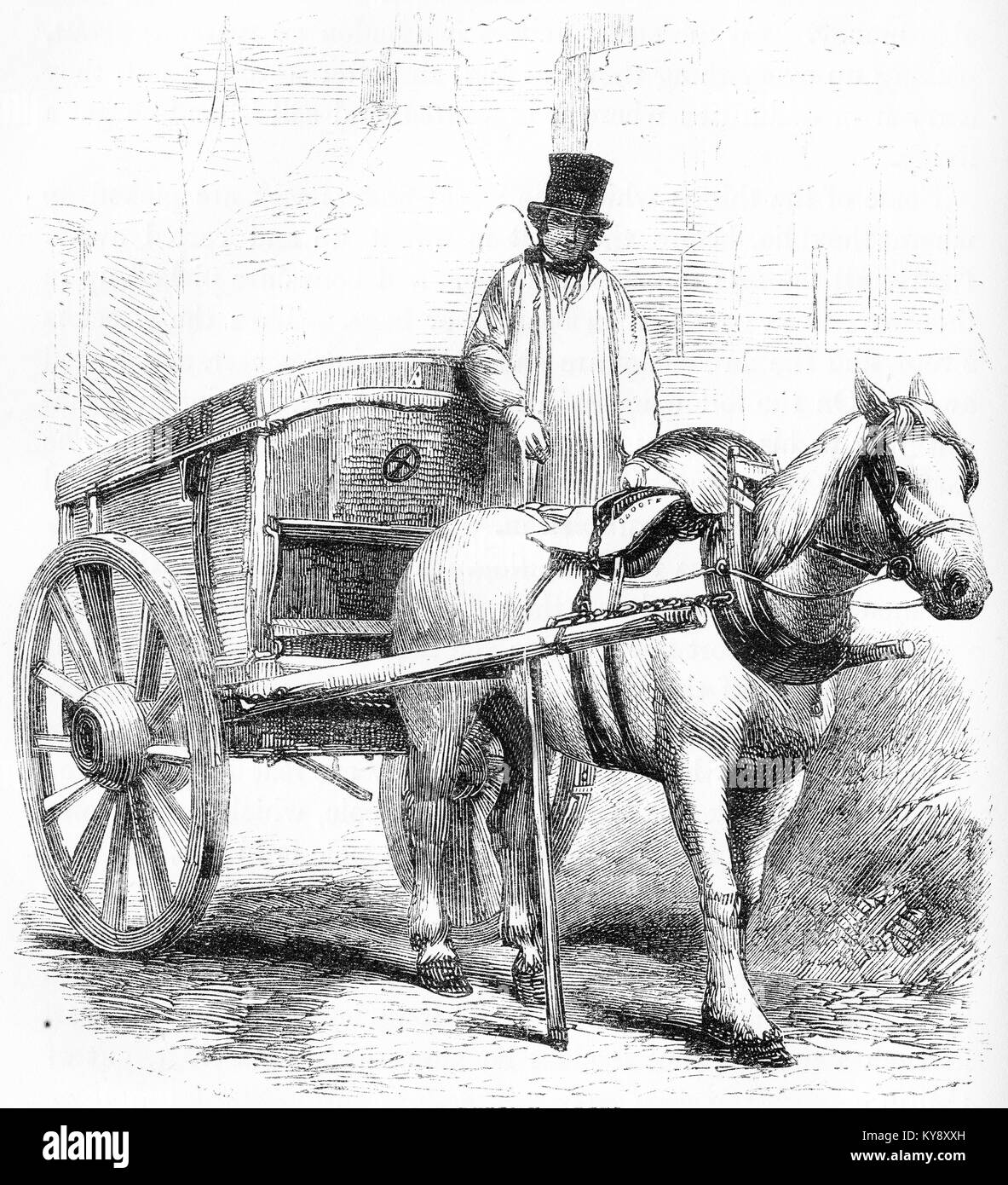 Engraving of a rubbish cart commonly used in London during the Victorian era. From an original engraving in the - Stock Image