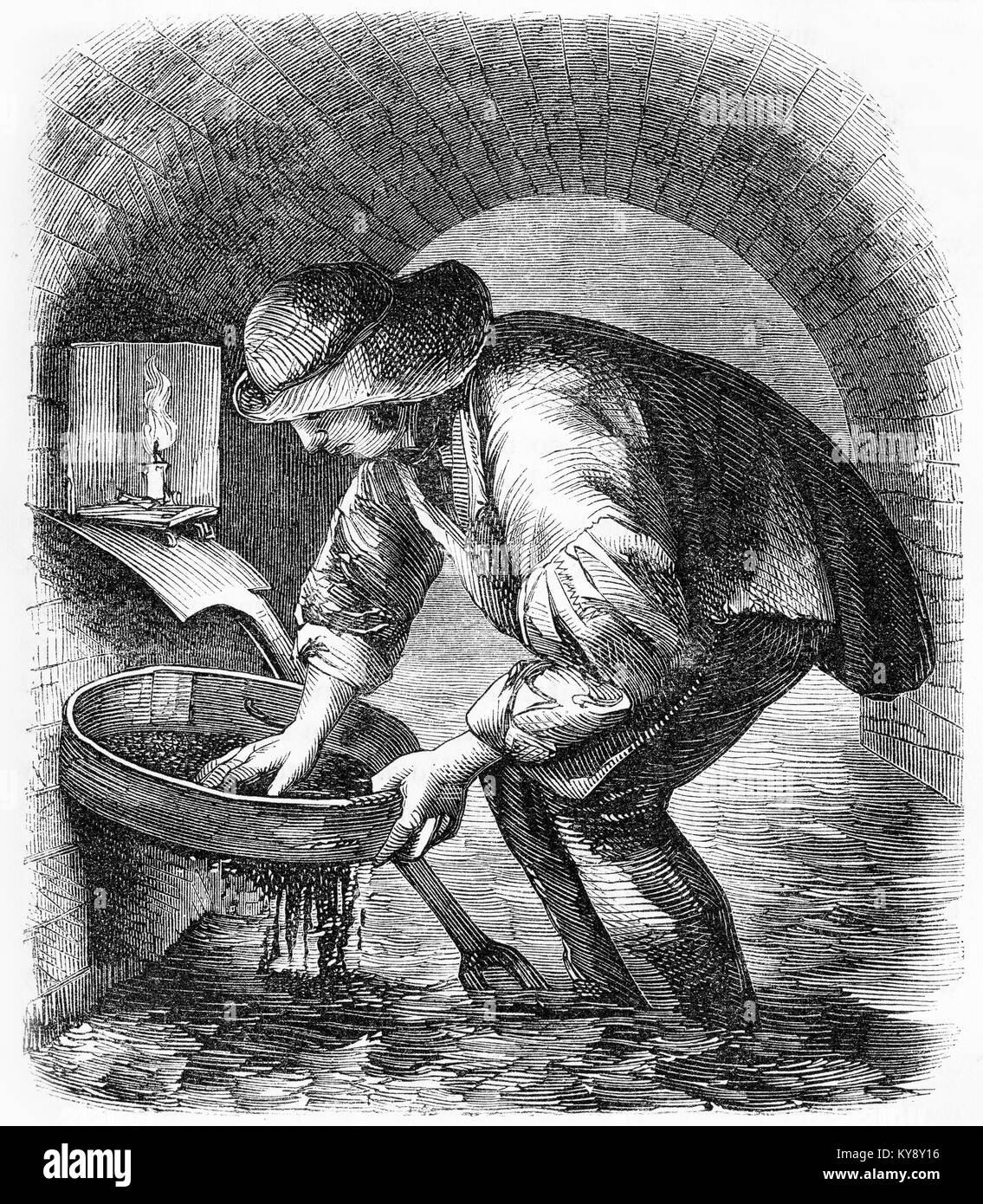 Engraving of a sewer hunter commonly at work cleaning the sewers of London during the Victorian era. From an original - Stock Image