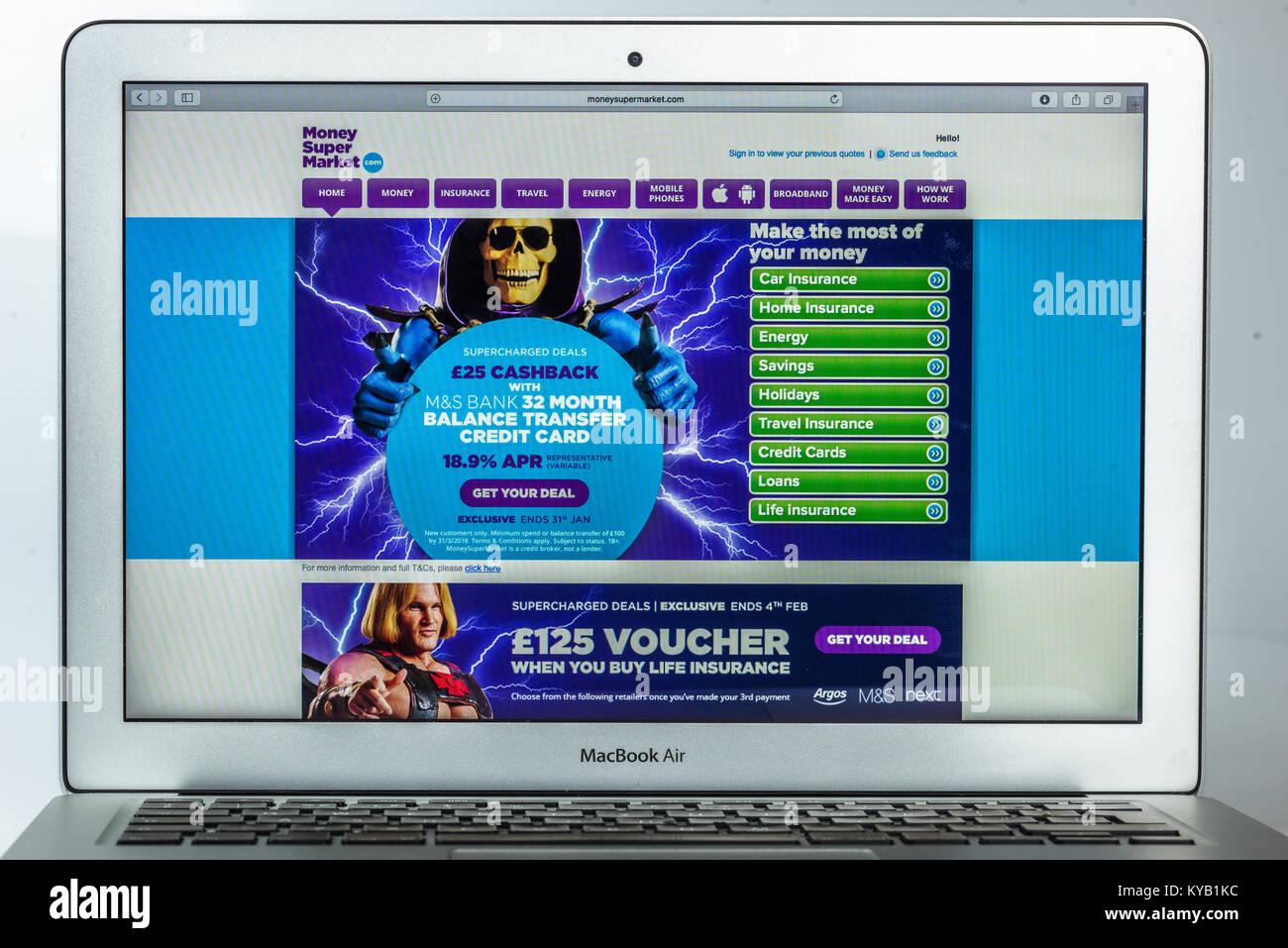 moneysupermarket.com website - Stock Image