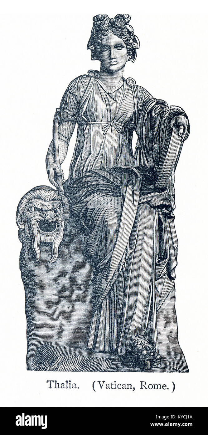This illustration dates to 1898 and shows a statue of Thalia in the Vatican Museum. Erato was honored as the Muse - Stock Image