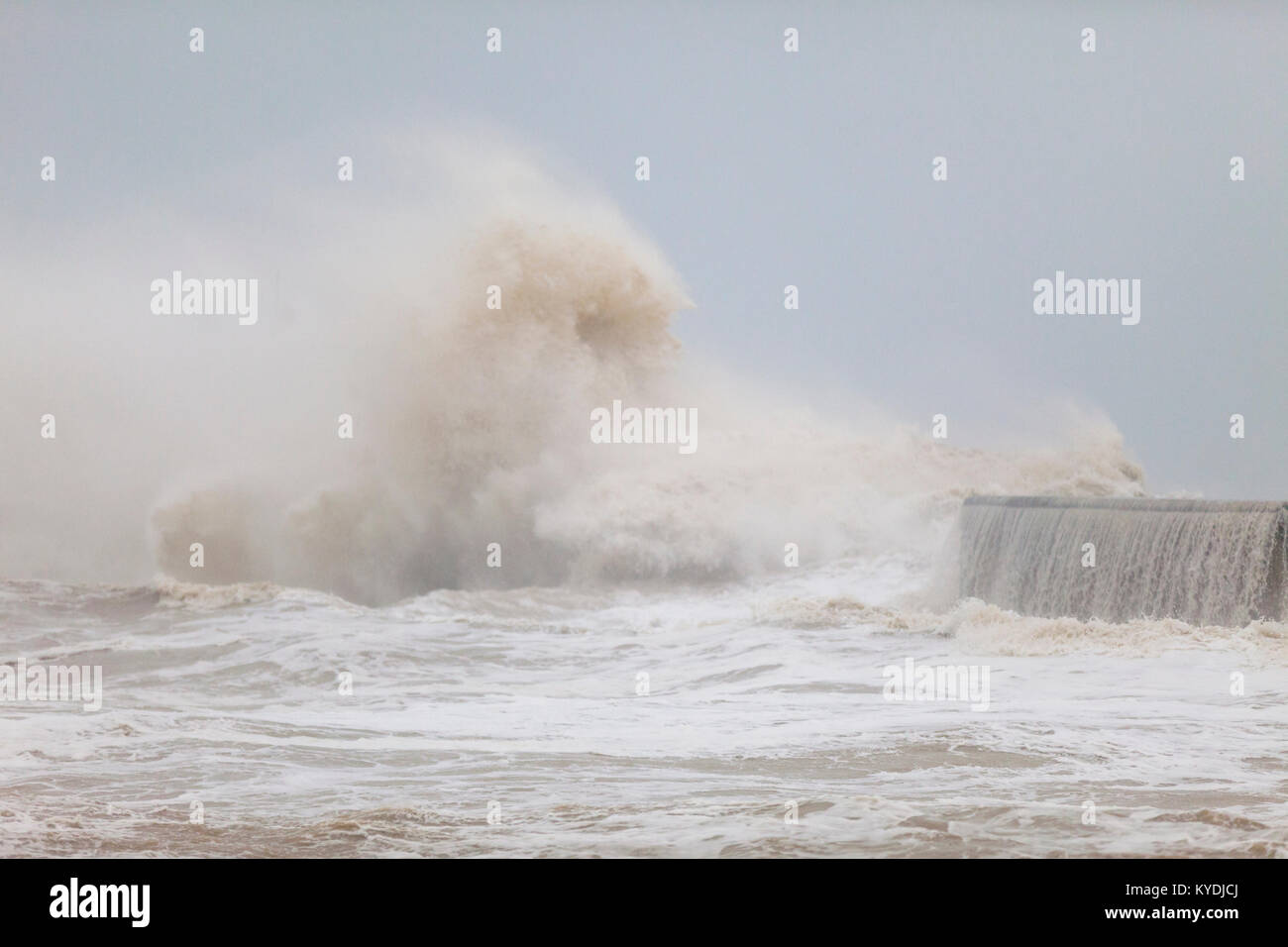 Hastings, East Sussex, UK. 15th January, 2018. UK Weather. Heavy rain and gale force winds in Hastings as the harbour Stock Photo