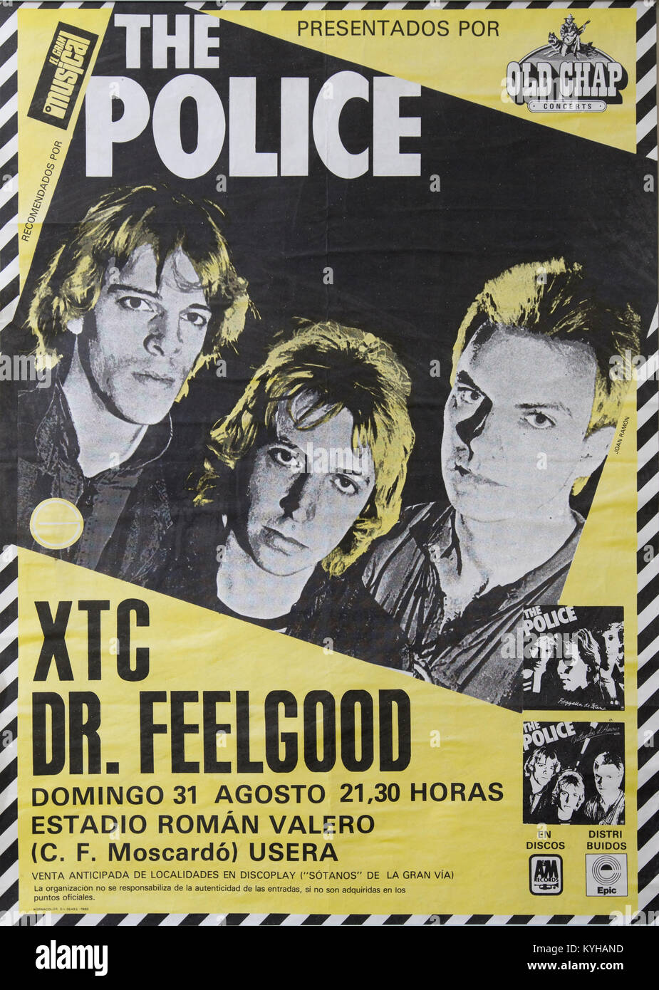 The Police, Sting, Stewart Copeland and Andy Summers,  Musical concert poster. Life event in Madrid Stock Photo