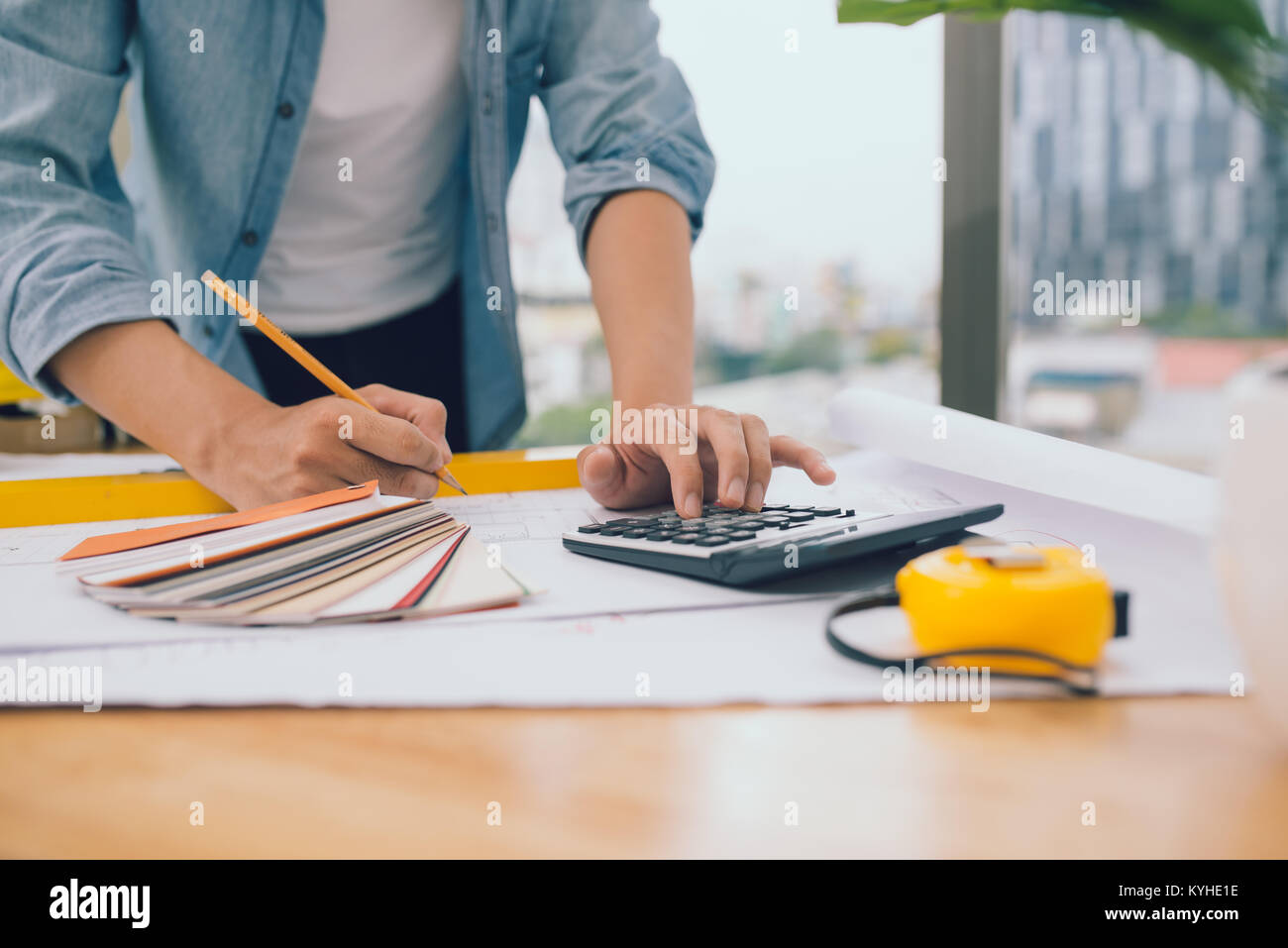 architects architect project interior design designer planning people architecture drawing business plan construction - Stock Image