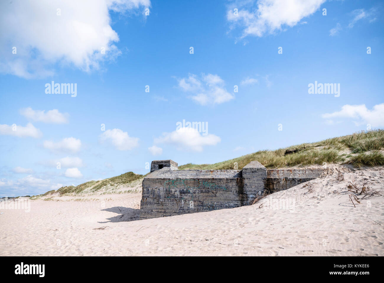 Dune on a beach with ruins of 2nd world war bunkers in the summer under a blue sky - Stock Image