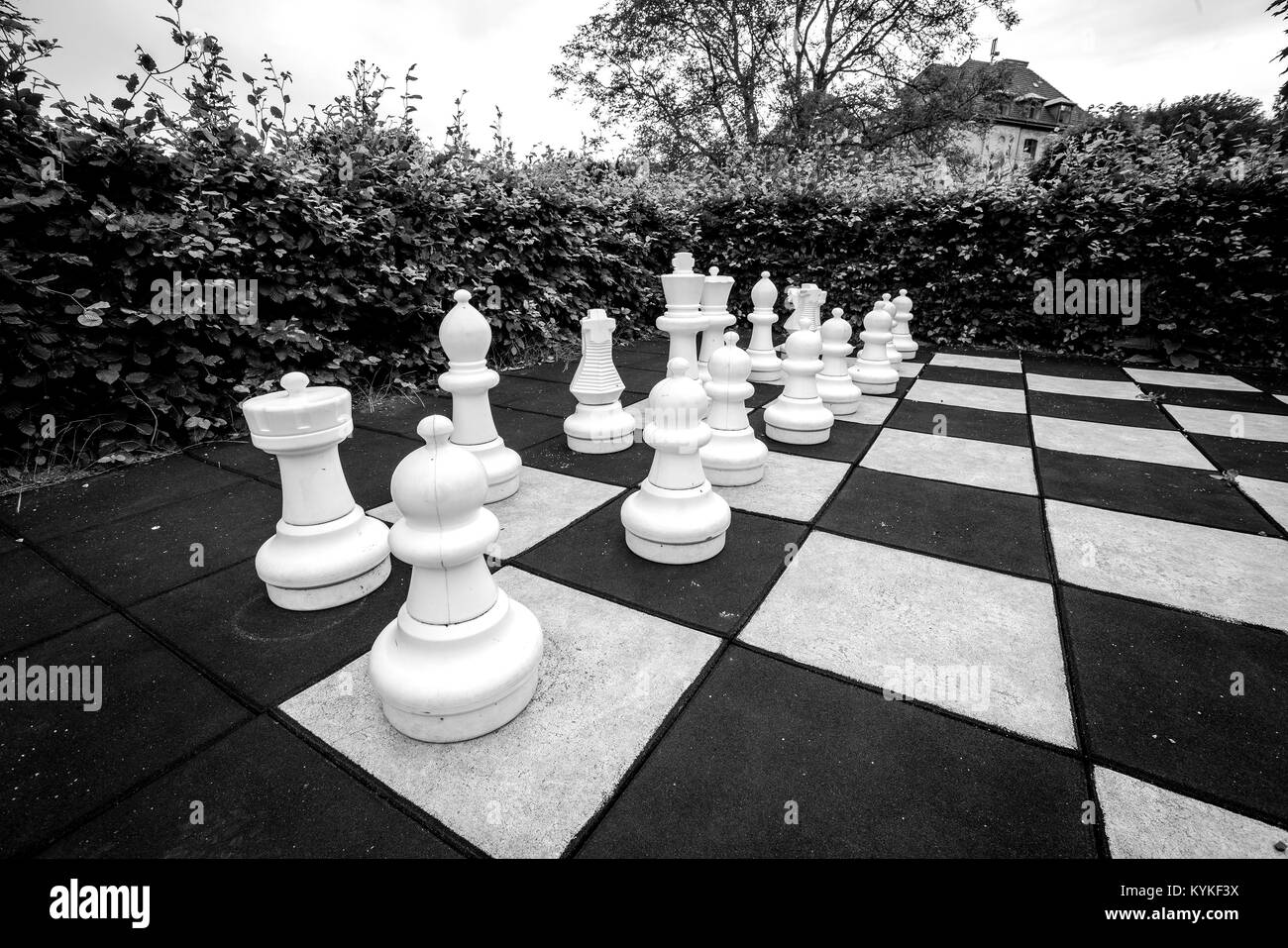 Game of chess with large pieces in an outdoor garden in monchrome colors - Stock Image