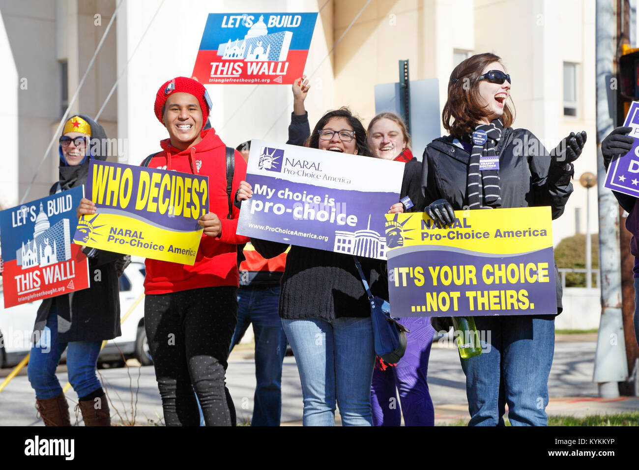 Raleigh, North Carolina. 13th January, 2018. Pro-Choice demonstration during a Pro-Life rally. Stock Photo