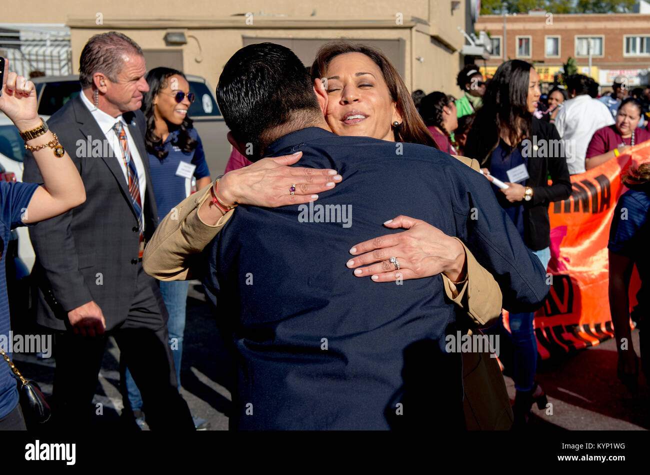 Los Angeles, California, USA. 15th Jan, 2018. U.S. Senator KAMALA HARRIS (D - CA), the Grand Marshal of the Los - Stock Image