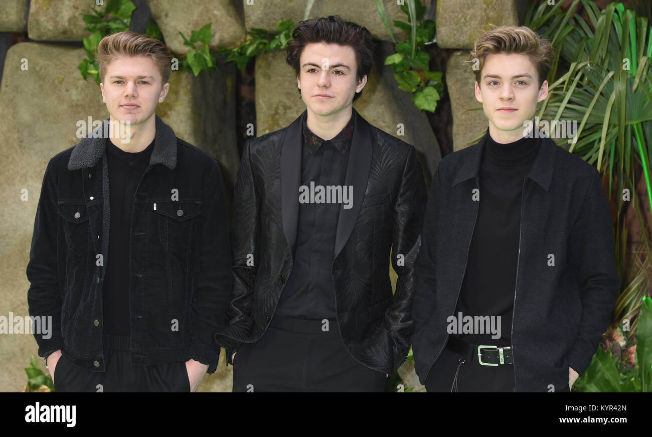 New Hope Club,Reece Bibby,Blake Richardson,George Smith,,'Early Man' - World Premiere,BFI IMAX,Southbank, - Stock Image