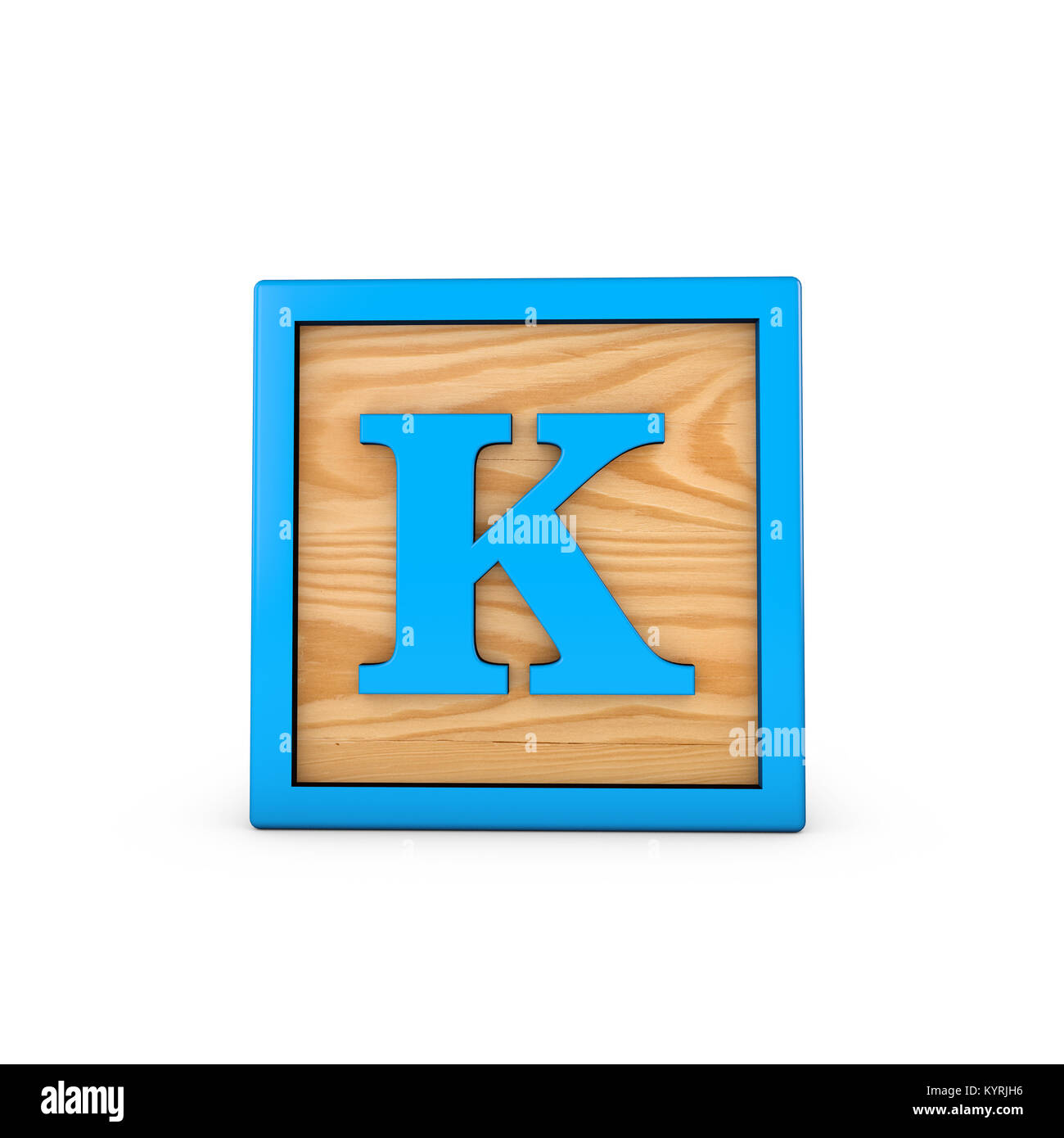 letter k wodden childrens toy alphabet block 3d rendering
