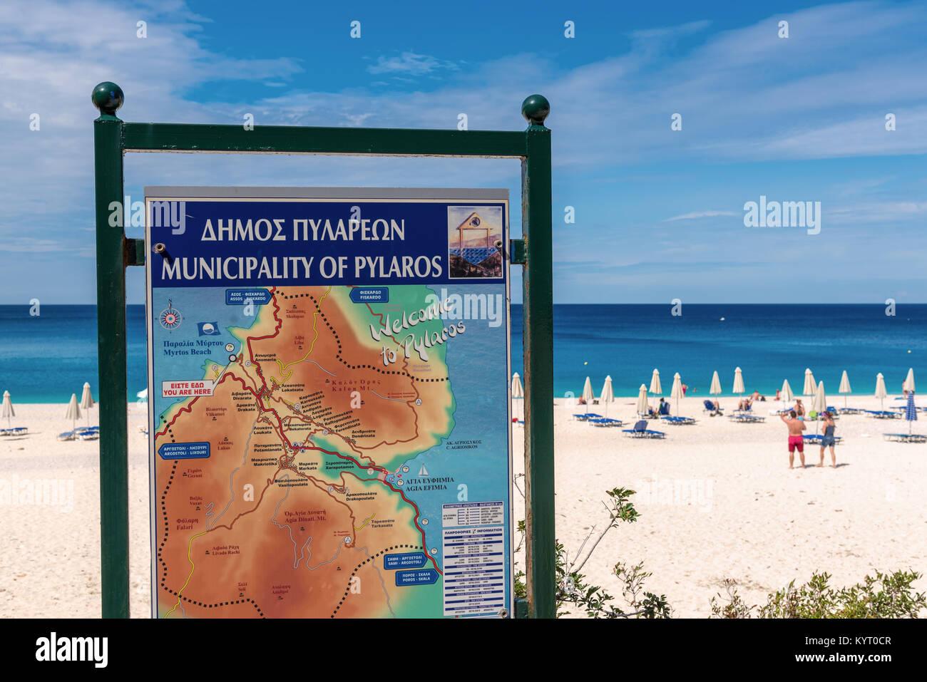 Kefalonia Greece September 30 2017 Kefalonia Island Map Next To