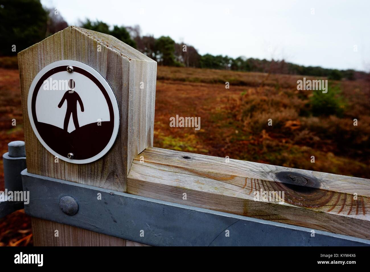 An 'Open Access' sign located at the boundary of 'Access Land', where the public has a right to - Stock Image