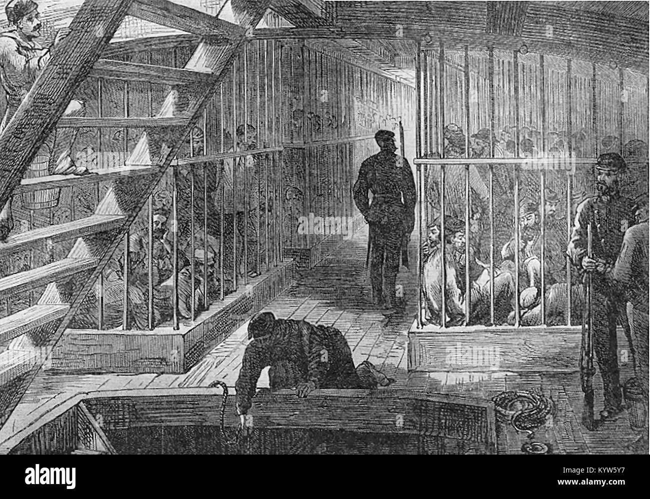 CONVICTS - AUSTRALIA -  Below decks in a typical convict transportation ship - Stock Image