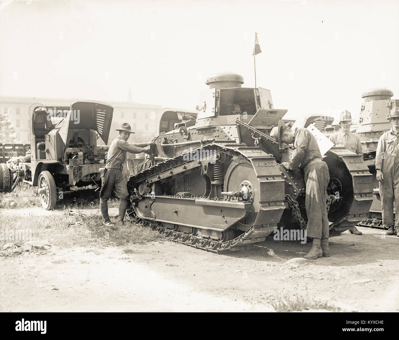 An American built World War One tank undergoes testing before being shipped to the battlefront in Europe. - Stock Image