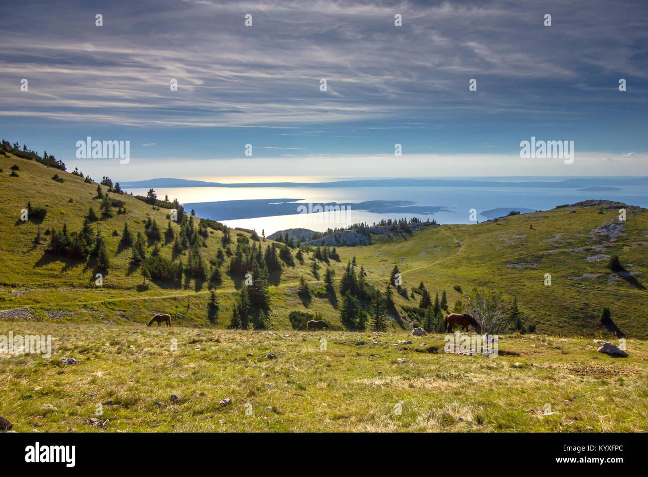 Adriatic sea and islands viewed from Zavizan in the Northern Velebit National Park, Croatia -  Aug 2016 Stock Photo