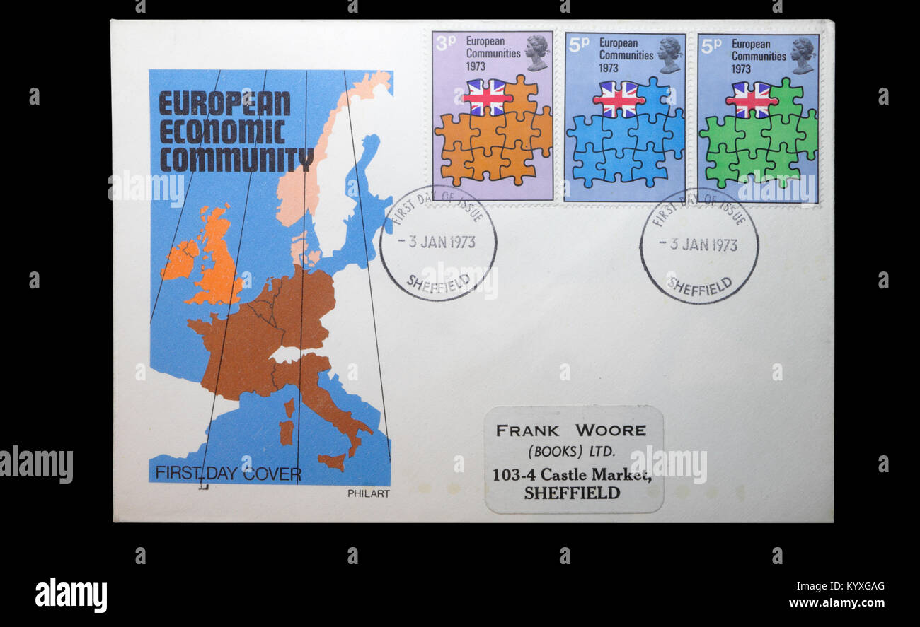 Commemorative stamps Britain joining the european economic community EEC - Stock Image