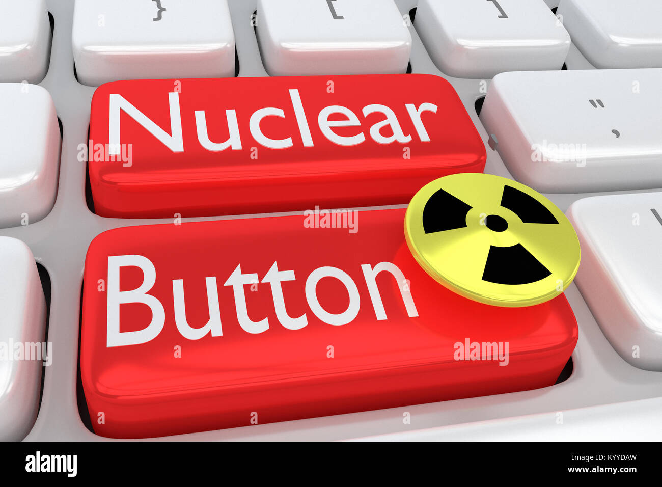 3D illustration of computer keyboard with the print Nuclear Button on two adjacent red buttons, allong with a nuclear - Stock Image