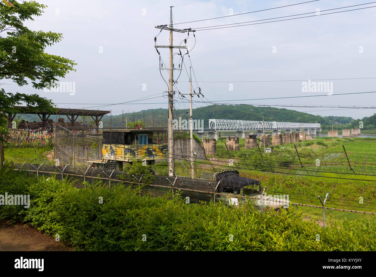 Looking into North Korea at the DMZ, Korean Demilitarized Zone, from South Korea - Stock Image