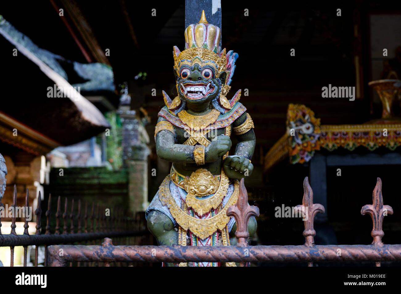 Traditional Balinese Hindu god or demon (unclear) statue at shrine in Gunung Kawi Sebatu Temple, Bali, Indonesia. - Stock Image