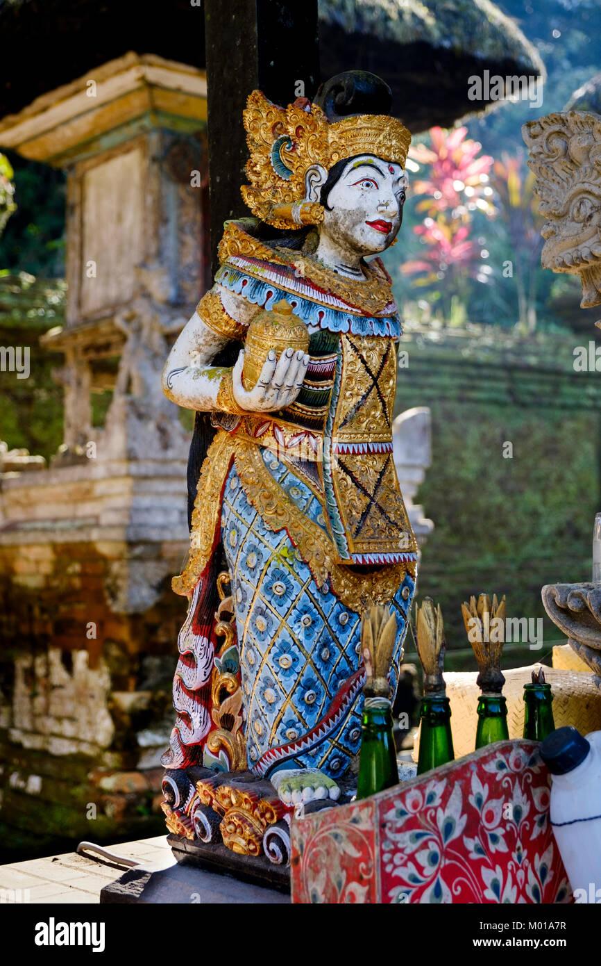Balinese Hindu Goddess statue at Gunung Kawi Sebatu Temple (Pura Gunung Kawi), Bali, Indonesia. - Stock Image