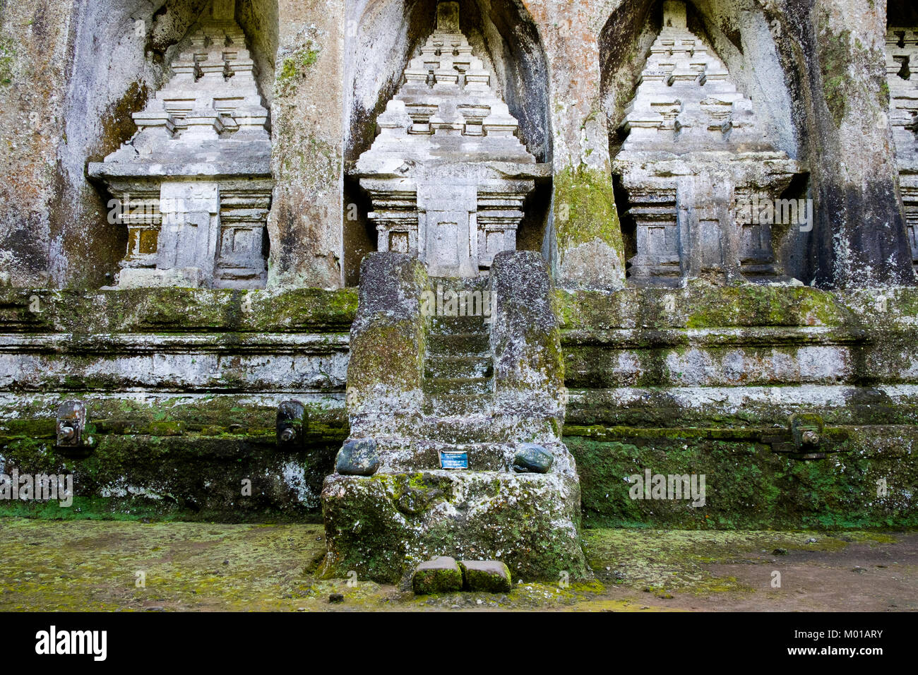 Rock-cut shrines from the group of five, Gunung Kawi complex in Tampaksiring, Bali, Indonesia. - Stock Image