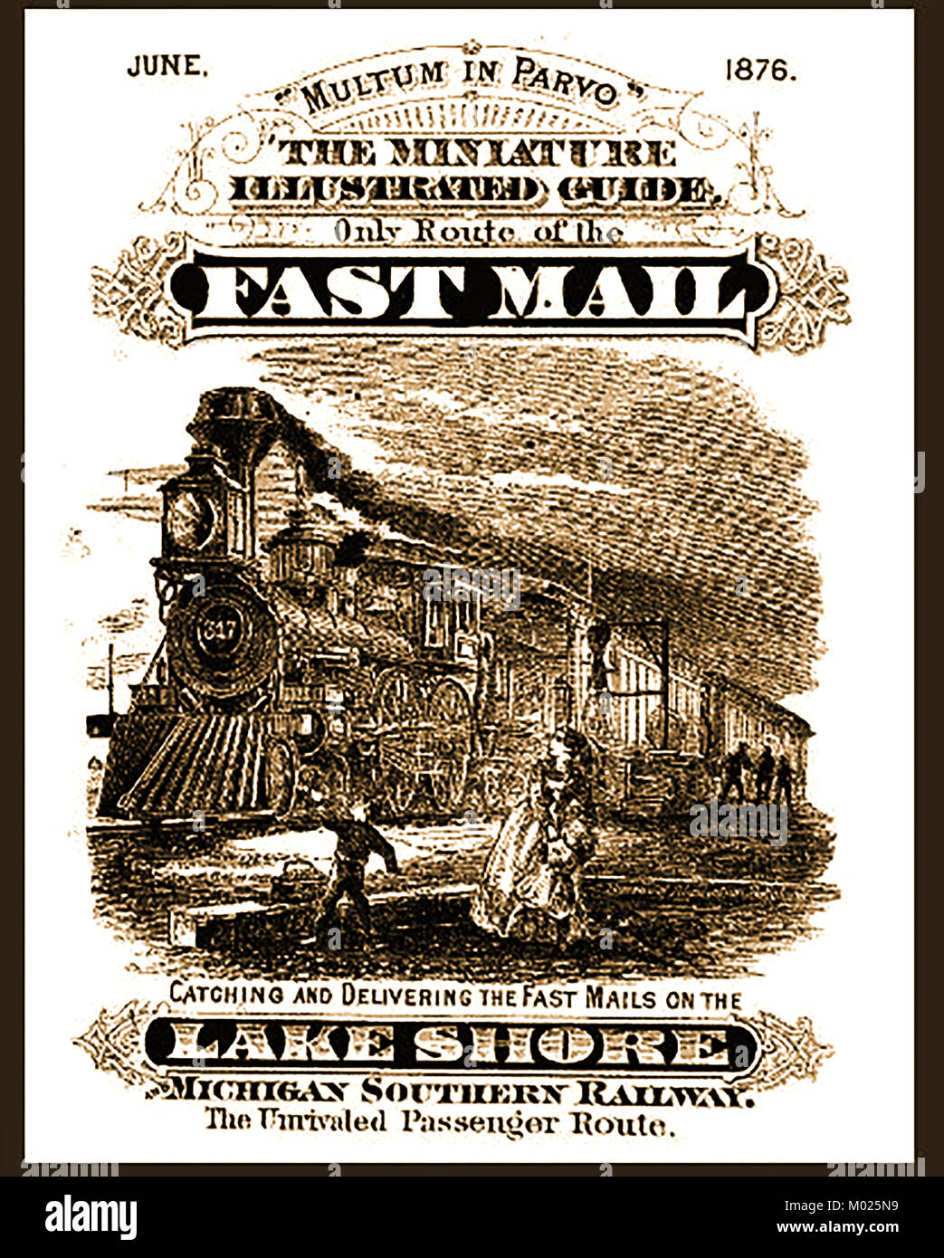 Lake Shore and Michigan Southern Railway 1876  - MICHIGAN SOUTHERN RAILWAY - Fast Mail  train and track-side Mail - Stock Image