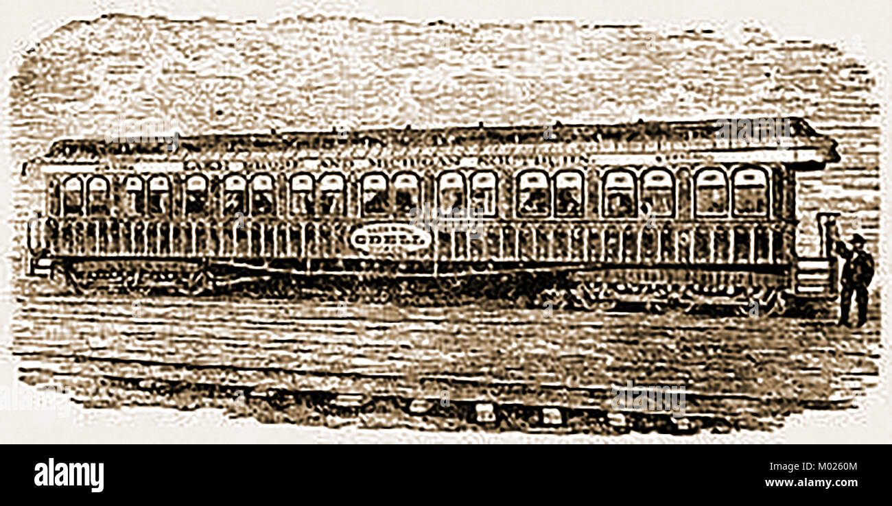 Lake Shore & Michigan Southern Railways USA  -Rolling Stock  - The 'Odell' Palace Car carriage 1875 - Stock Image