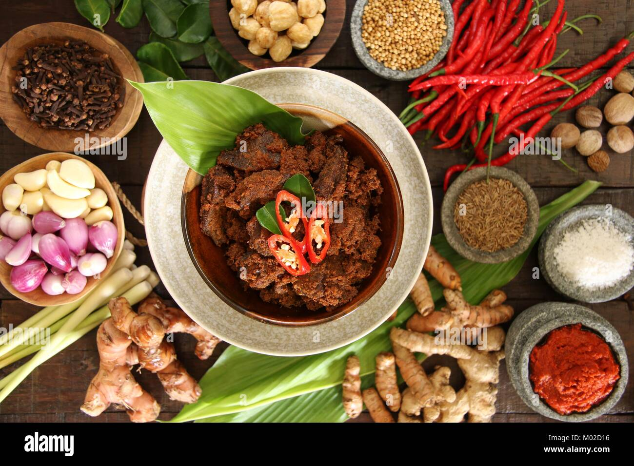 Rendang Padang, the Traditional Spicy Beef Stew from Padang, West Sumatra Stock Photo