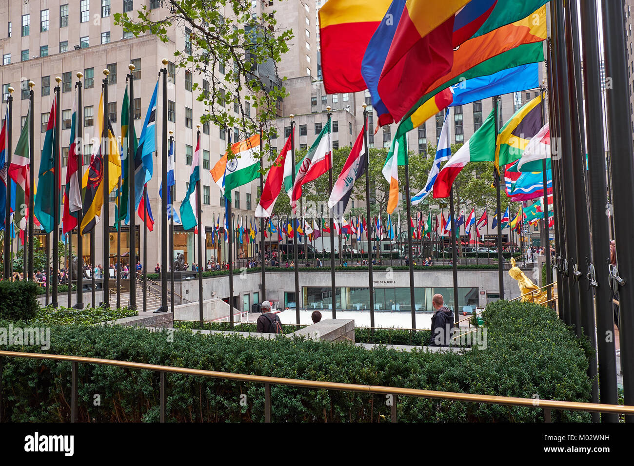 NEW YORK CITY - SEPTEMBER 29, 2016: Looking down on the Rockefeller Center Plaza where the famous ice rink is being - Stock Image
