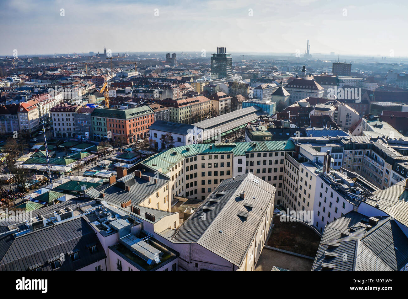 Panorama view of Munich city center. - Stock Image