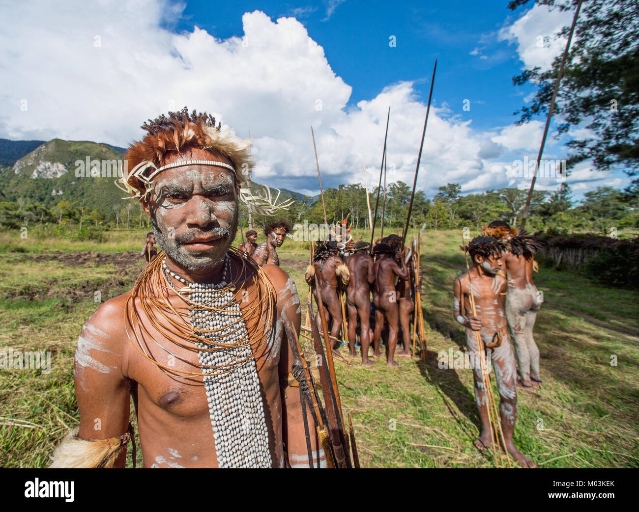Close up Portrait of Dugum Dani Warrior Portrait. June 4, 2016 The Baliem Valley Papua or Irian Jaya Indonesian - Stock Image