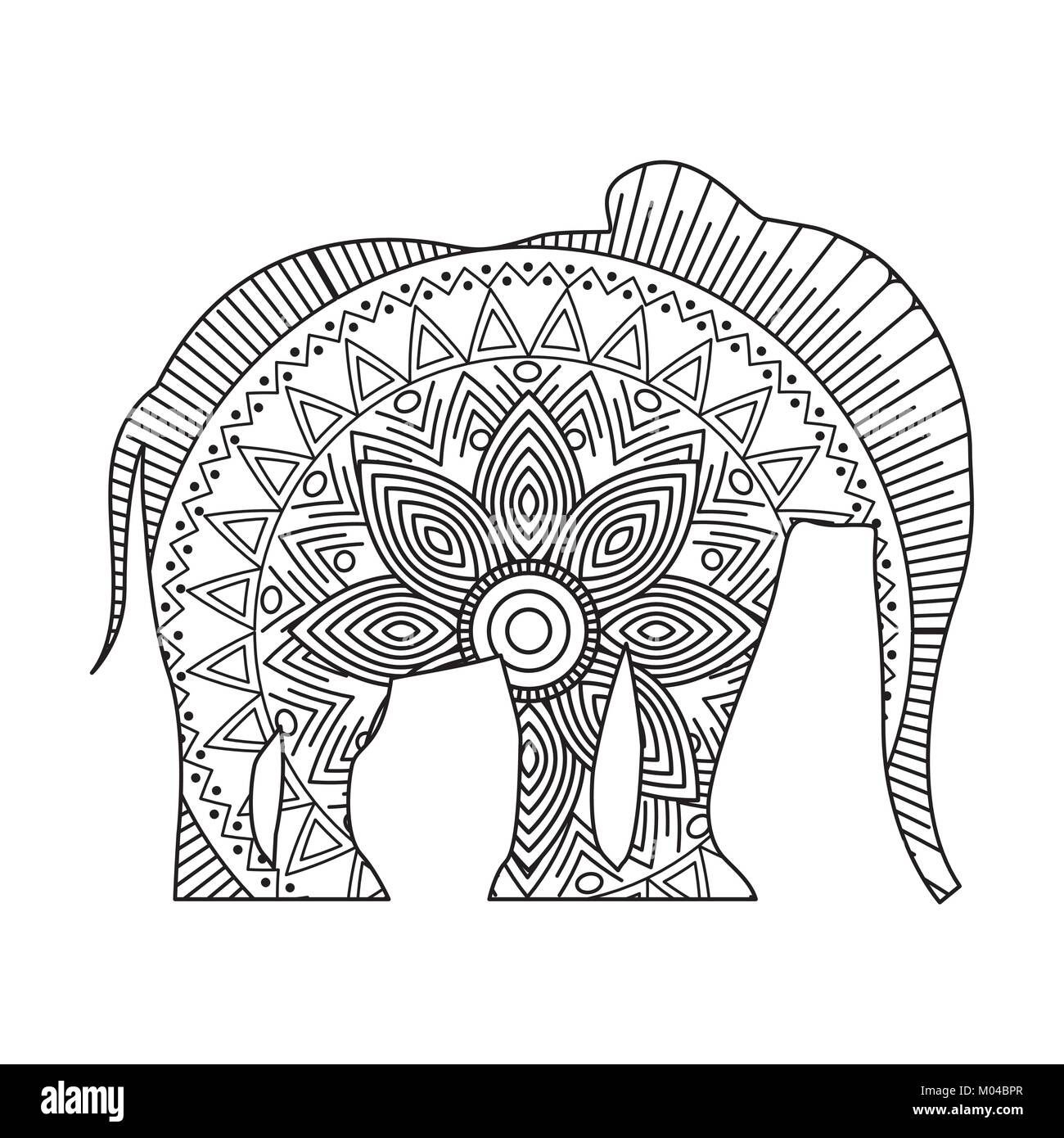 Drawing Zentangle For Elephant Adult Coloring Page Stock Vector Art