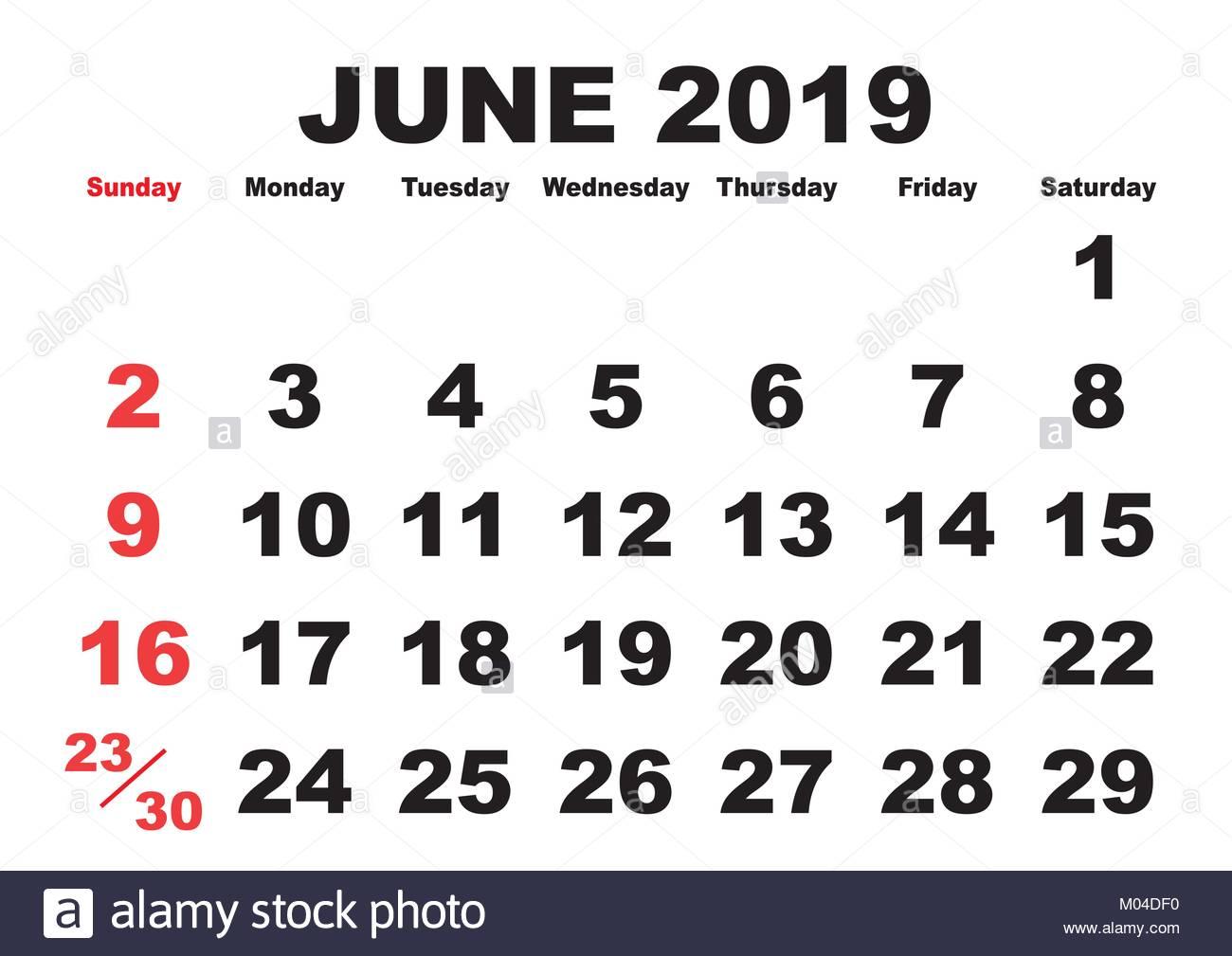 2019 Calendar June Month Vector Printable Calendar Monthly Stock