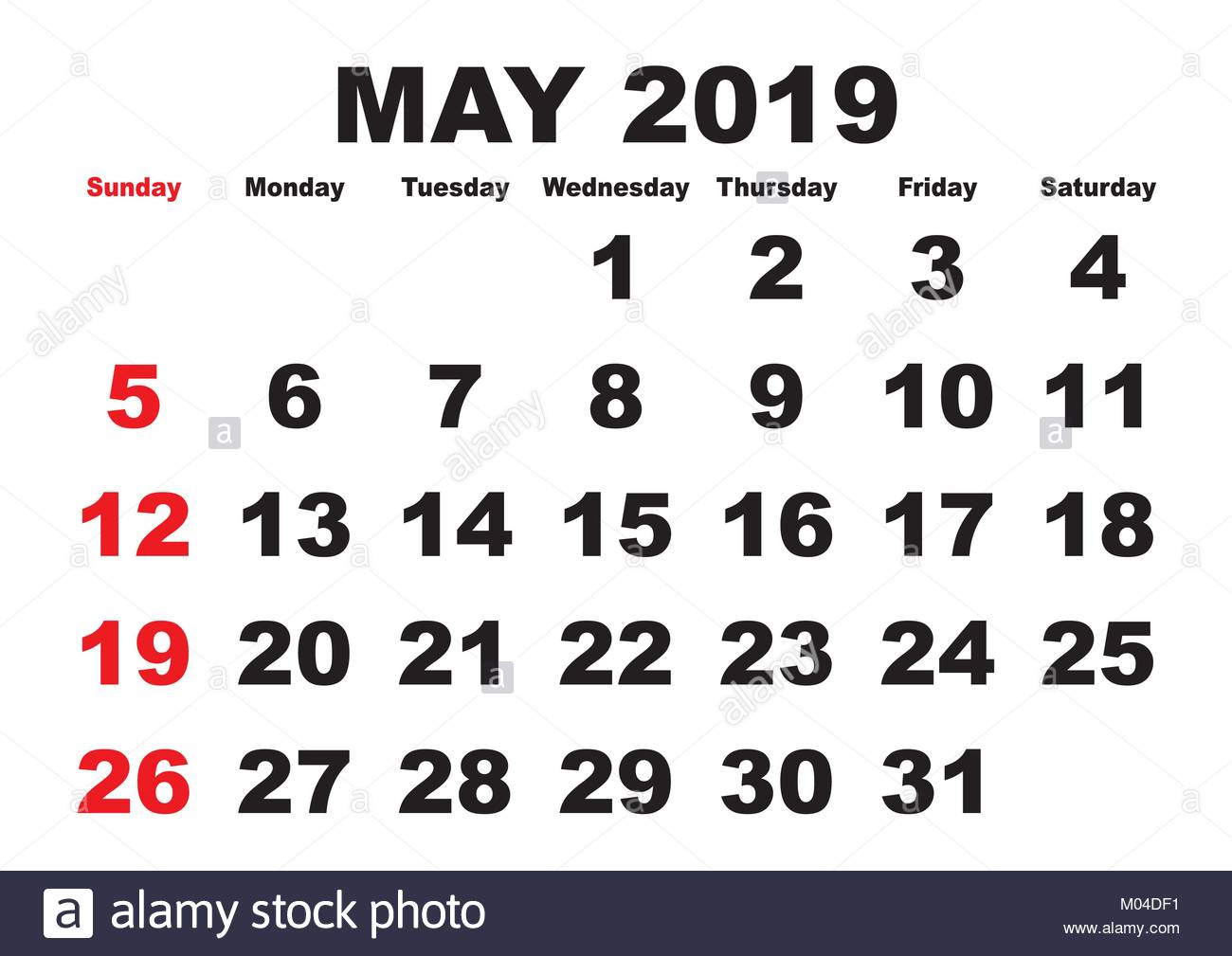 2019 Calendar May Month Vector Printable Calendar Monthly Stock