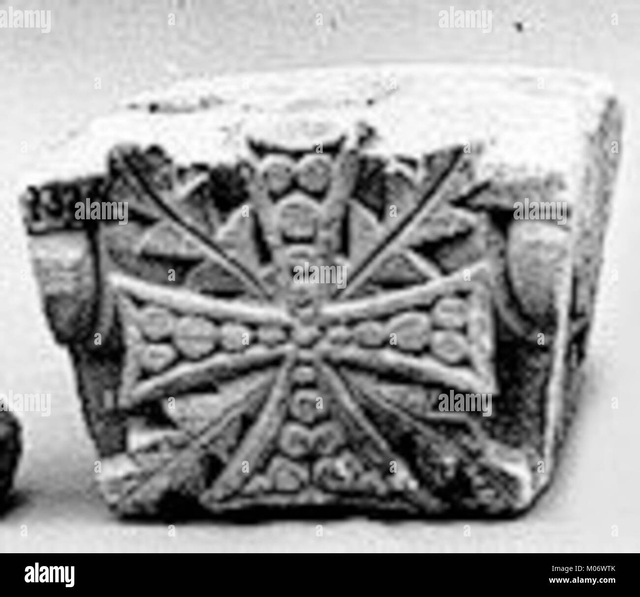 Keystone from an Arch with Cross and Acanthus Leaves MET 9279b - Stock Image