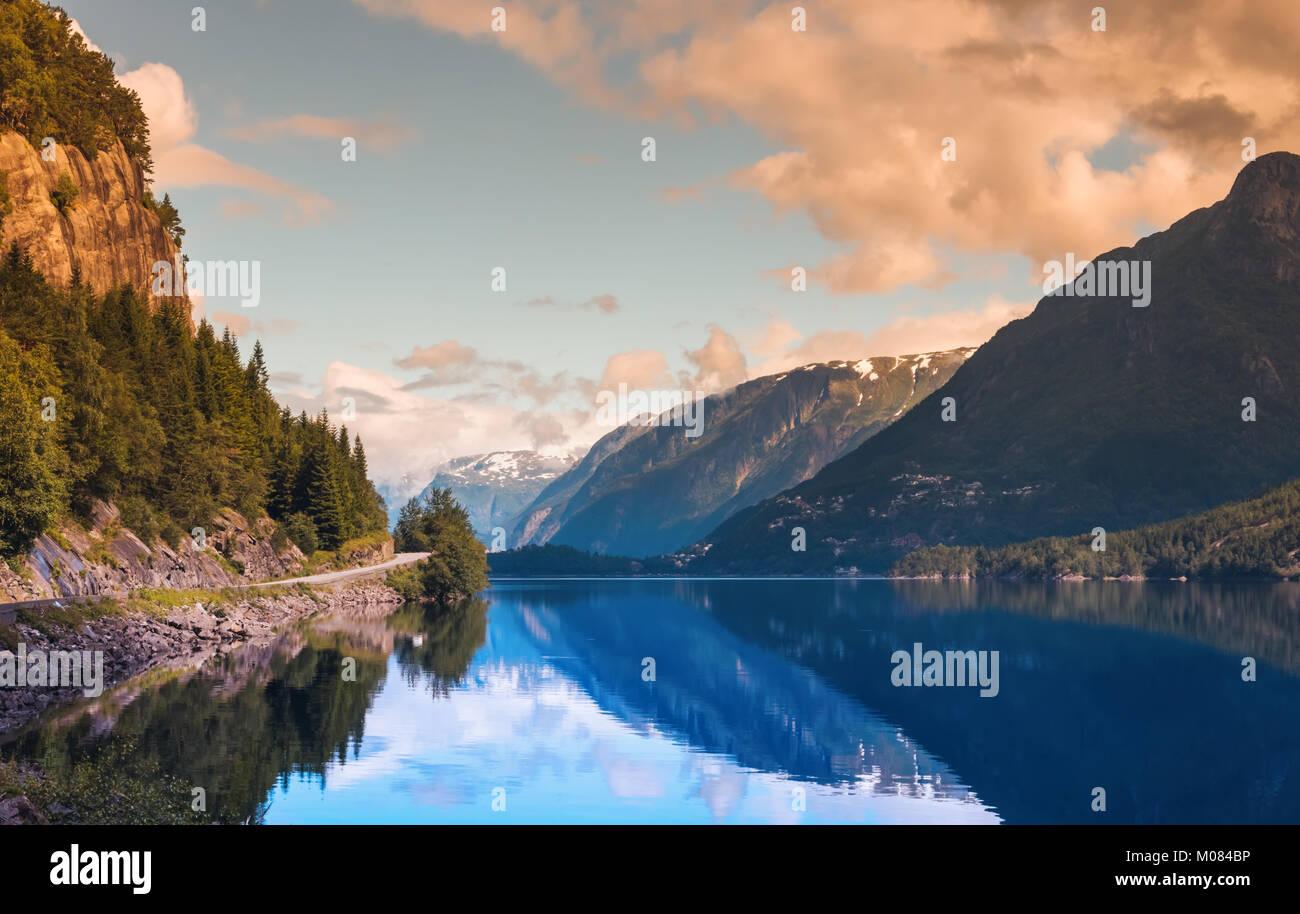 Hardanger Fjord Norway landscape. Stock Photo