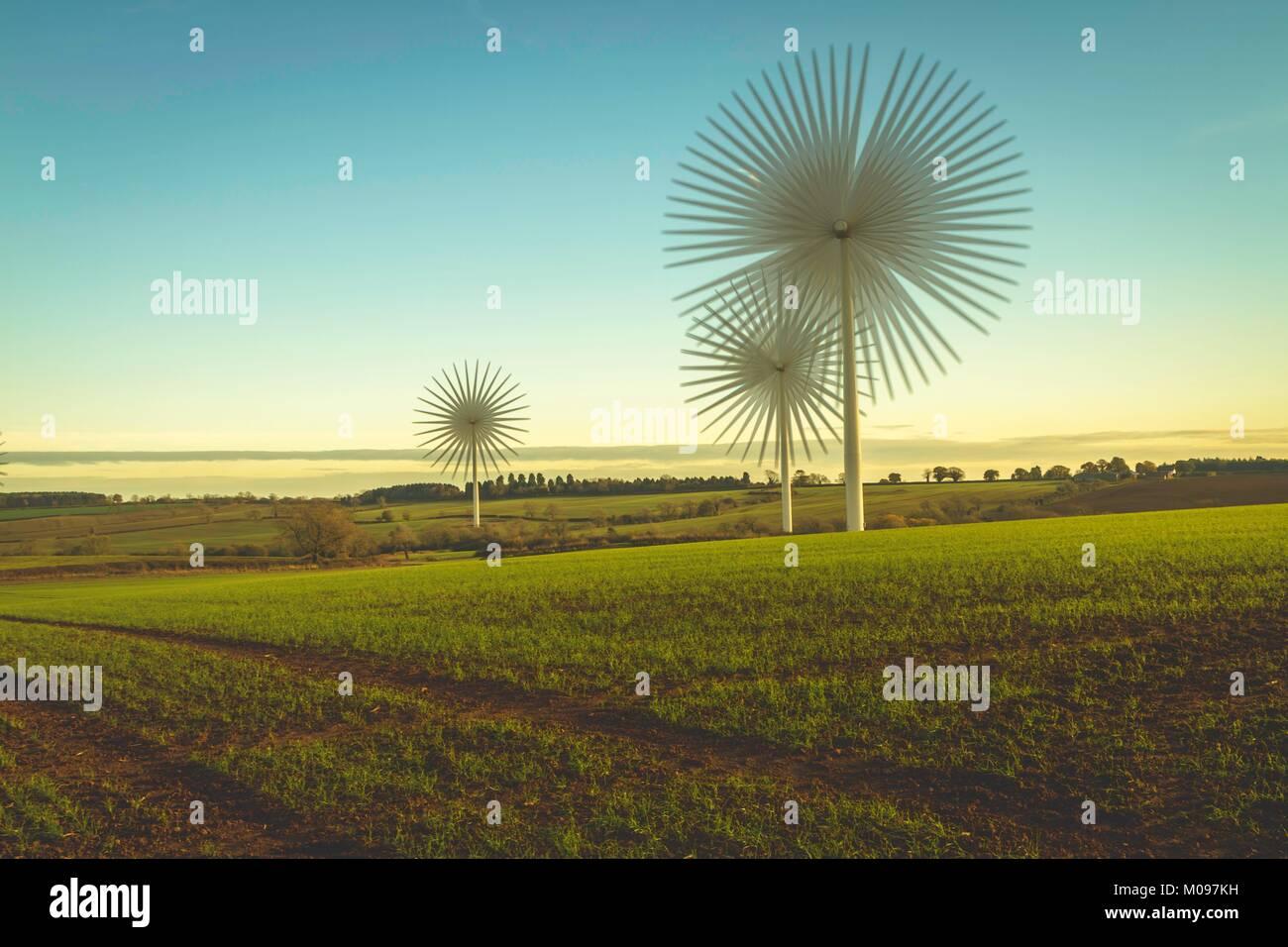 Wind Turbine Flower Power - Stock Image
