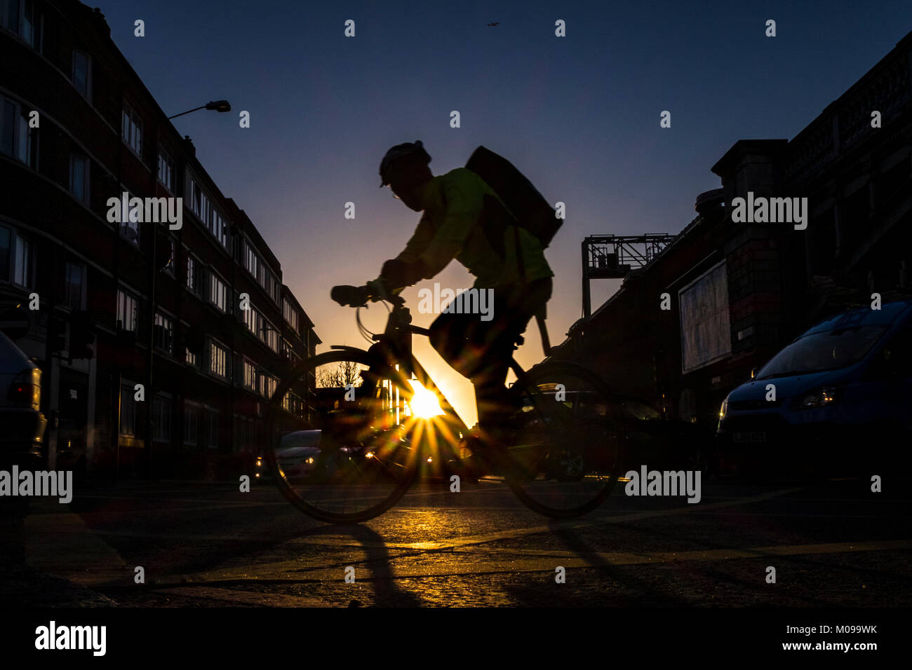 London, UK. 19th Jan, 2018. Cyclists make their way to work in London Bridge on another cold but clear day in the Stock Photo