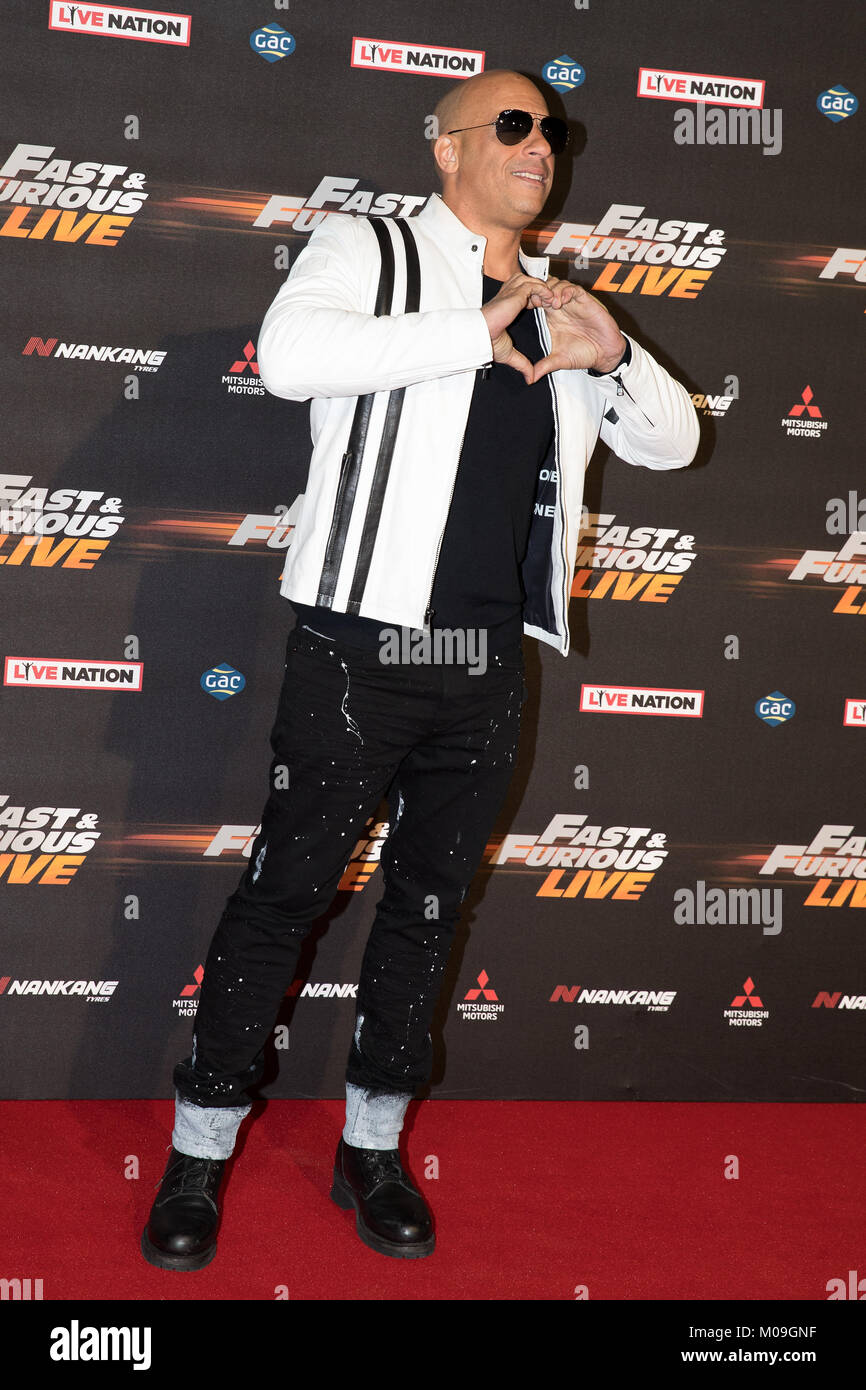 London, UK. 19th Jan, 2018. vin diesel at the Global Premiere of Fast & Furious Live at the O2 Arena London - Stock Image