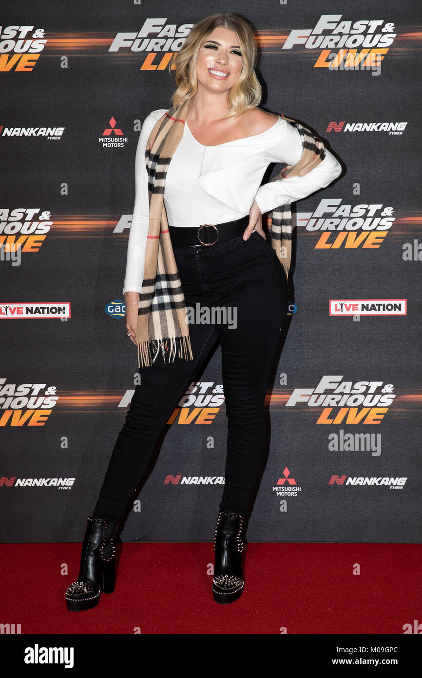 London, UK. 19th Jan, 2018. OLIVIA Buckland at the Global Premiere of Fast & Furious Live at the O2 Arena London - Stock Image
