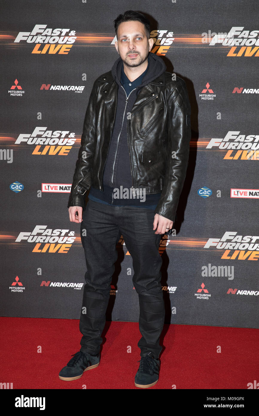London, UK. 19th Jan, 2018. Dynamo (Steven Frayne) at the Global Premiere of Fast & Furious Live at the O2 Arena - Stock Image
