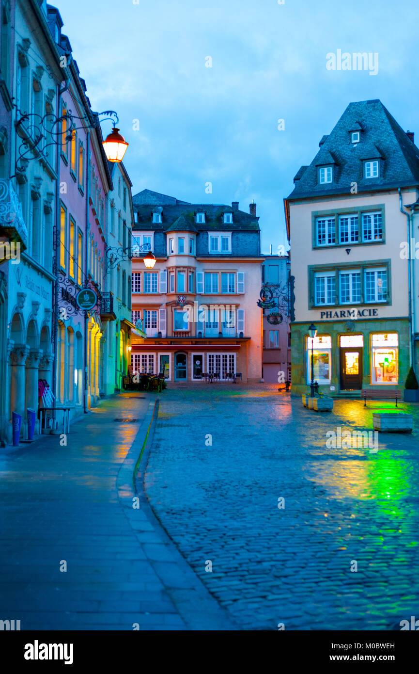 Historical streets of Echternach with night lights, Luxembourg Stock Photo