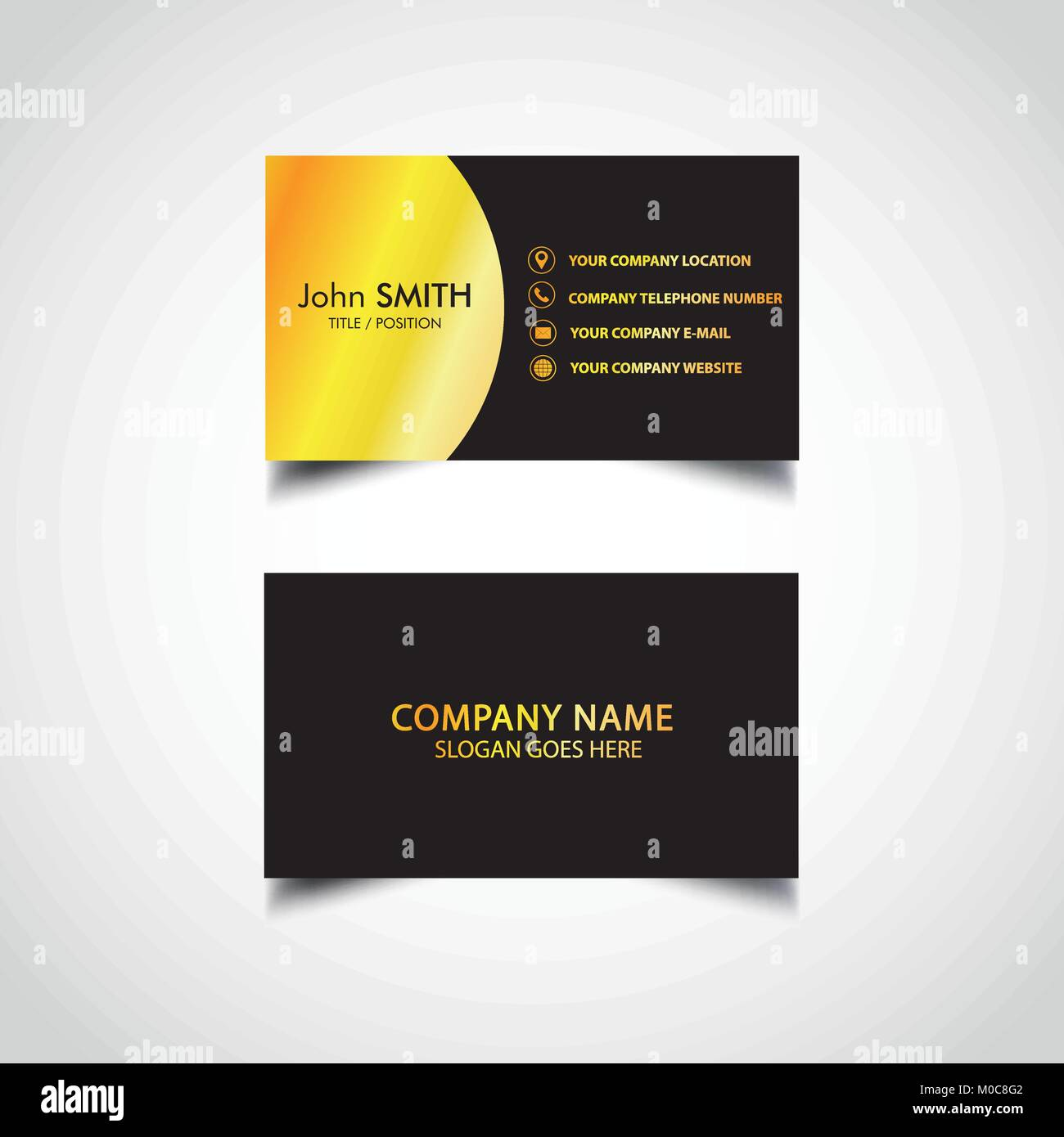Golden Business Card Template Vector Illustration Eps File Stock