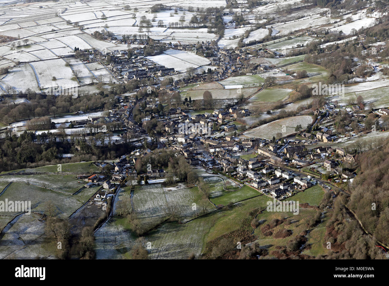 aerial view of the Derbyshire village of Eyam, UK - Stock Image