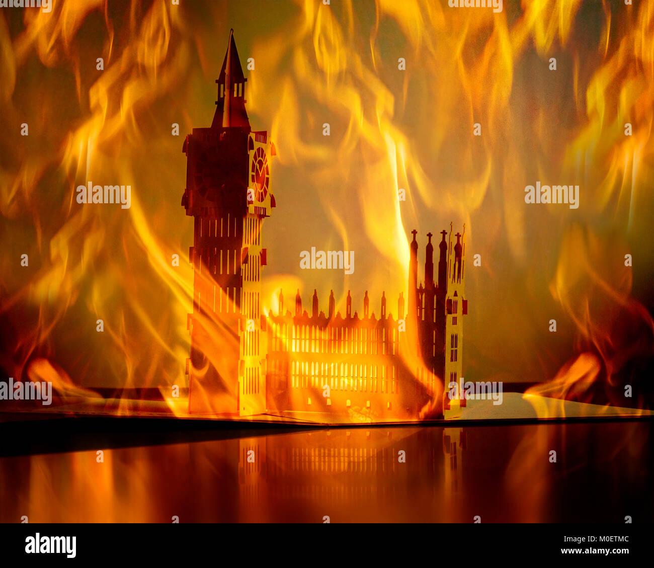 CONCEPT PHOTGRAPHY: London's Burning - Stock Image