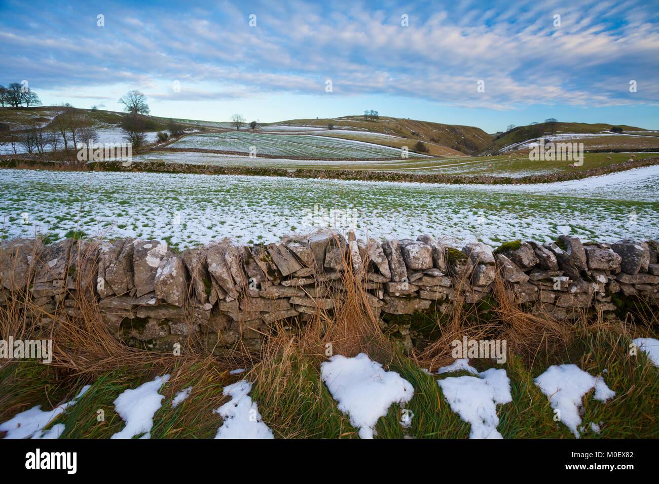 PEAK DISTRICT NATIONAL PARK, Stanshope, Ashbourne, Derbyshire, UK. January - Stock Image