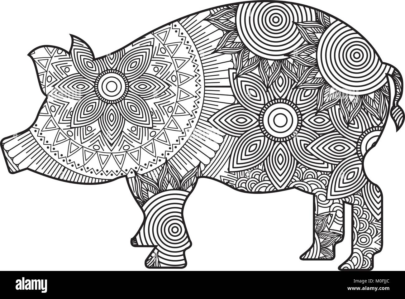 Hand Drawn For Adult Coloring Pages With Pig Zentangle Monochrome