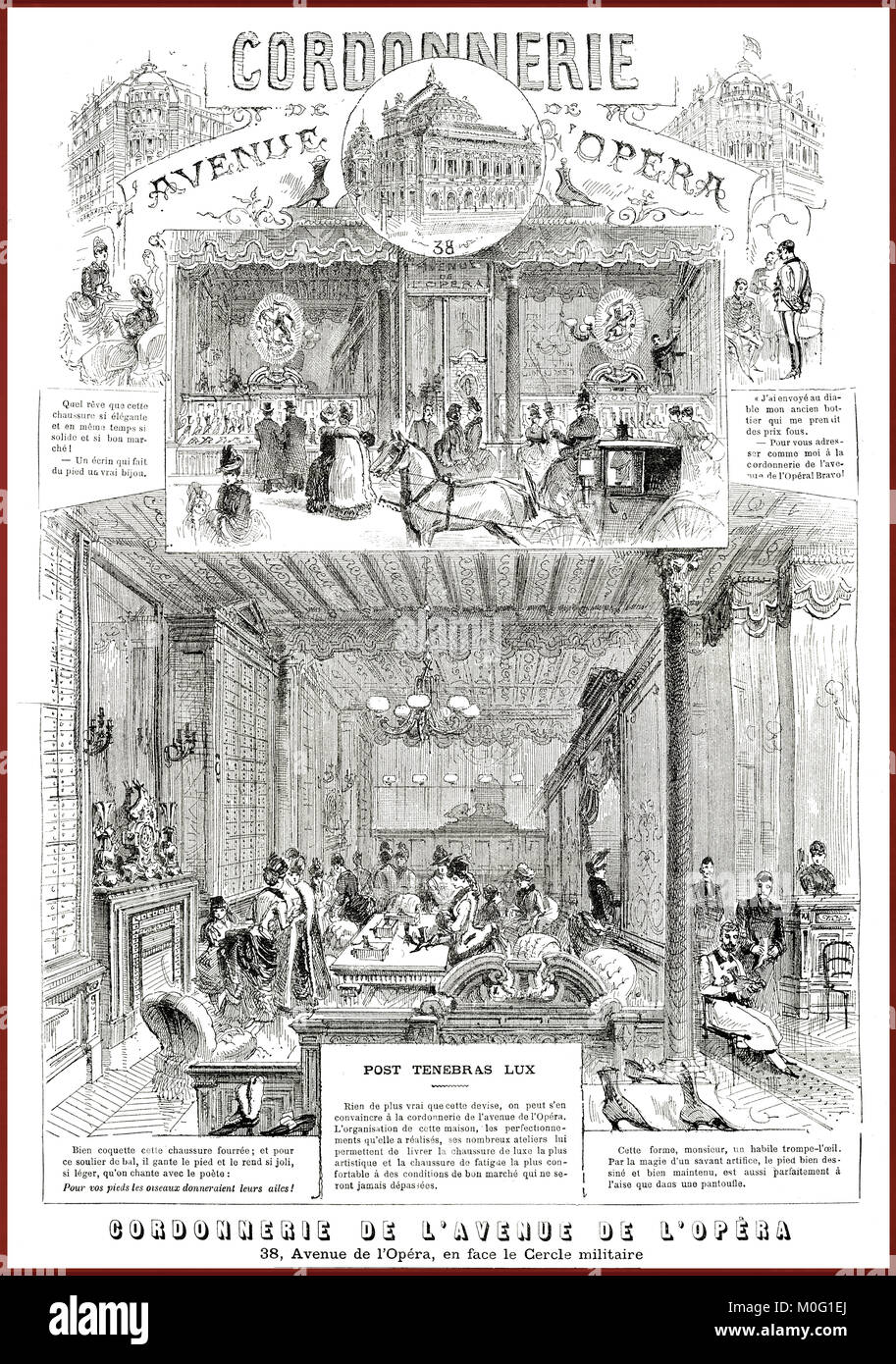 French satirical magazine La vie Parisienne 1888, beautiful and artistic advertising of a famous schoemaker's - Stock Image