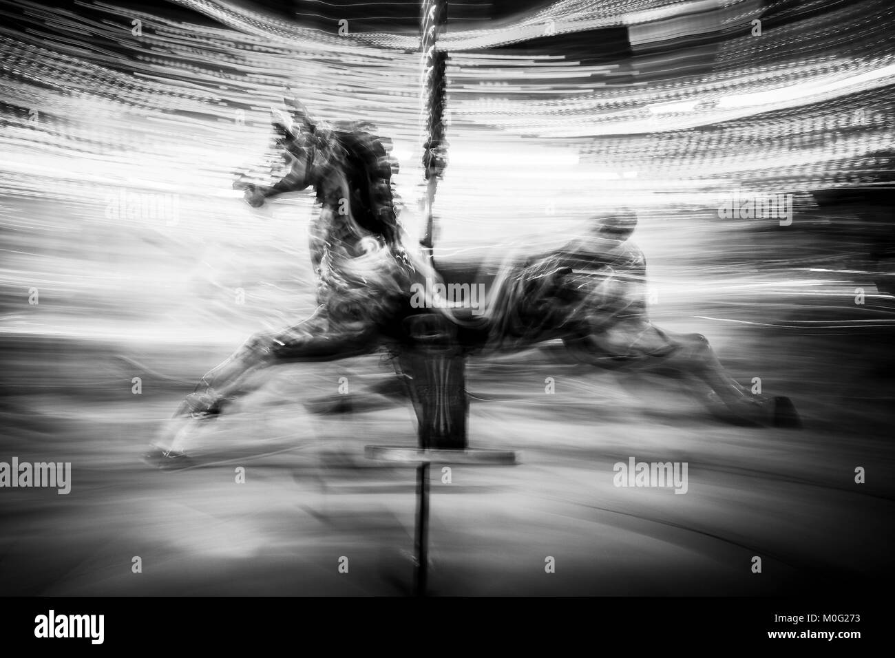 London black and white street photography carousel horse