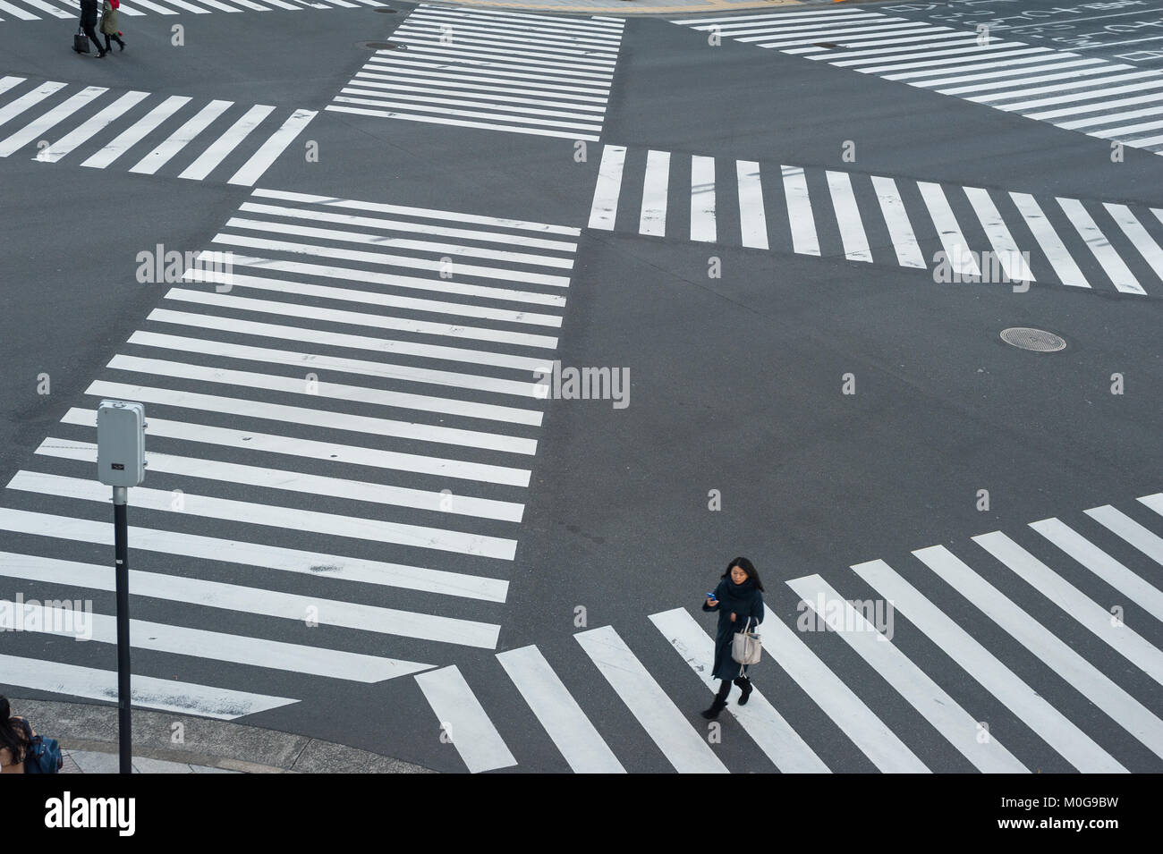 01.01.2018, Tokyo, Japan, Asia - A pedestrian crossing in Tokyo's Ginza district. - Stock Image