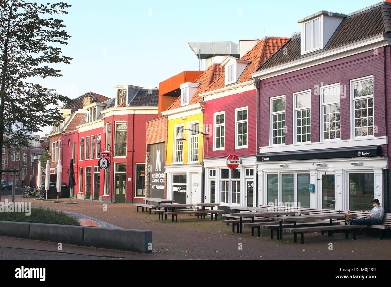 Colourful houses, bars and restaurants in the city centre of Stock ...